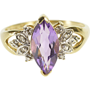 10K Marquise Amethyst Diamond Petal Accent Ring Size 7.75 Yellow Gold [QPQC]