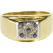 14K Diamond Sapphire Pave Squared Cluster Ring Size 7 Yellow Gold [QPQC]