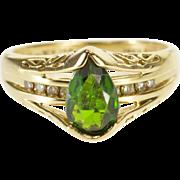 14K Pear Tourmaline Diamond Alternative Engagement Ring Size 6 Yellow Gold [QPQC]