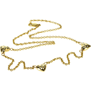 "14K 3D Diamond Inset Heart Cable Chain Necklace 17.5"" Yellow Gold  [QPQC]"