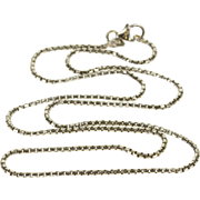 "18K 1.4mm Rounded Box Link Fancy Chain Necklace 17.5"" White Gold  [QPQC]"
