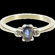 10K Oval Sapphire Diamond Alternative Engagement Ring Size 5.25 White Gold [QPQC]