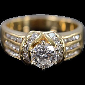 14K 1.00 Ct Round G / VS2 Diamond 1.75 Ctw Engagement Ring Size 8.5 Yellow Gold