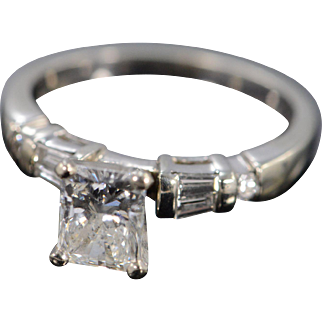 14K 1.10 Ct H/SI1 Radiant 1.46 Ctw Diamond Engagement Ring Size 7 White Gold