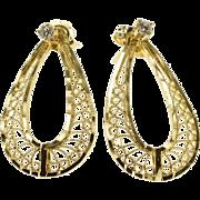 14K Tear Drop Dangle Scroll Filigree Dangle Earrings Yellow Gold  [QWXQ]