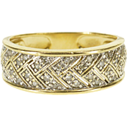14K Diamond Encrusted Pave Braid Weave Band Ring Size 6.25 Yellow Gold [QPQC]