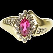 14K Marquise Pink Tourmaline Diamond Halo Freeform Ring Size 6 Yellow Gold [QPQC]