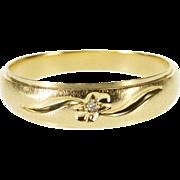 14K Diamond Inset Wavy Grooved Men's Wedding Band Ring Size 9.75 Yellow Gold [QPQC]