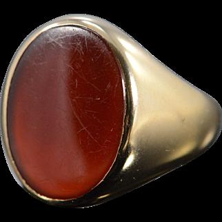 14K 20x15mm Carnelian Oval Men's Ring Size 10.25 Yellow Gold