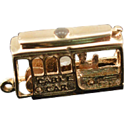 14K Vintage 3D Articulated San Francisco Cable Car Charm/Pendant Yellow Gold