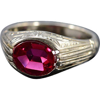 14K Art Deco Inspired Oval Synthetic Ruby Engraved Ring Size 9 White Gold