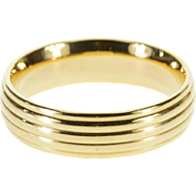14K Rounded Grooved Design Wedding Band Ring Size 9.5 Yellow Gold [QWXQ]