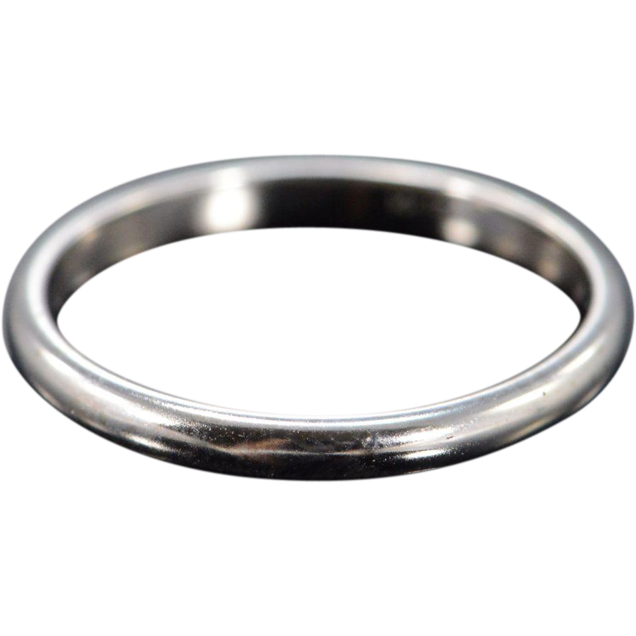 14K 2mm Plain Rounded Wedding Band Ring Size 5 White Gold From Rubylane Sold On Ruby Lane