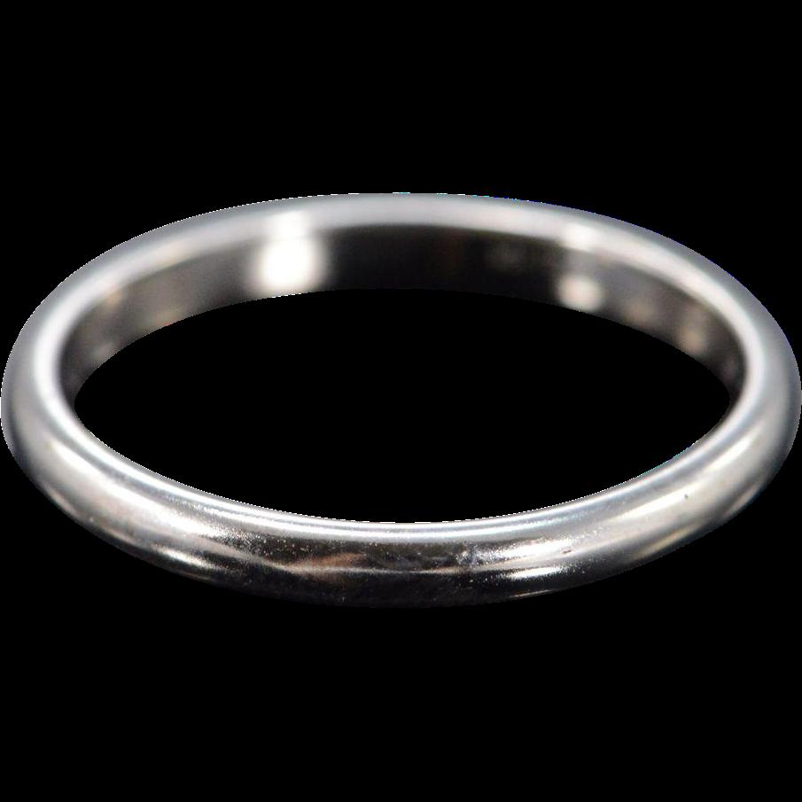 14k 2mm plain rounded wedding band ring size 5 white gold