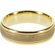 14K Milgrain Grooved Two Tone Texture Wedding Band Ring Size 9.5 Yellow Gold [QPQC]