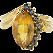 14K Marquise Citrine Sapphire* Semi Halo Freeform Ring Size 5.5 Yellow Gold [QPQC]