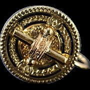 14K Victorian Circle Black Enamel Screw Back Earrings Yellow Gold