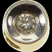 14K Concave Diamond Inset Bezel Flush Two Tone Pendant Yellow Gold  [QWXQ]