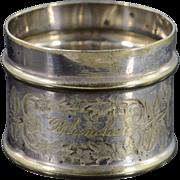 BASE METAL Engraved Silverplate Napkin Ring