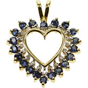 10K Ornate Sapphire Diamond Encrusted Halo Heart Pendant Yellow Gold  [QWXQ]