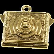14K 3D Ornate Film Camera Locket Charm/Pendant Yellow Gold  [QWXQ]