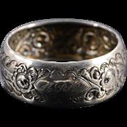 Silver Thomas Hayes English OrnateFloral Motif Napkin Ring