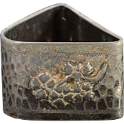 Silverplate Meriden Company Triangular Hammered Textured Bee & Flower Motif Napkin Ring