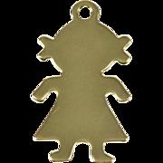 14K Stylized Little Girl Silhouette Charm/Pendant Yellow Gold  [QWXQ]
