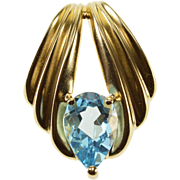 14K Pear Cut Blue Topaz Solitaire Scalloped Grooved Pendant Yellow Gold  [QWXQ]