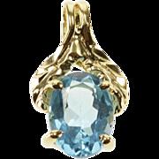 10K Oval Blue Topaz Prong Inset Solitaire Diamond Cut Pendant Yellow Gold  [QWXQ]