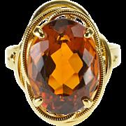 18K Oval Spessartite Garnet Wire Design Trim Ring Size 6.75 Yellow Gold [QWXQ]