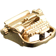 14K 3D Articulated Vintage Typewriter Charm/Pendant Yellow Gold