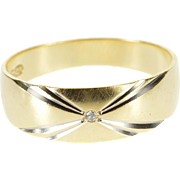 14K Grooved Two Tone Diamond Inset Men's Wedding Ring Size 9.75 Yellow Gold [QWXQ]