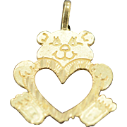 14K Teddy Bear Heart Charm/Pendant 15.5x17.3x.6 MM Yellow Gold