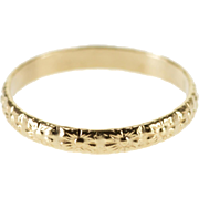 10K Rounded Floral Patterned Child's Baby Band Ring Size 0 Yellow Gold [QWXQ]