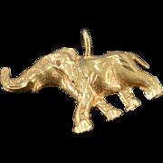 14K Diamond Cut African Elephant Charm/Pendant 23.8x17.6x3 MM Yellow Gold