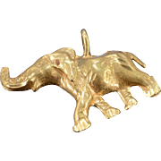 14K Diamond Cut African Elephant Charm/Pendant 23.8x17.6x3 MM Yellow Gold