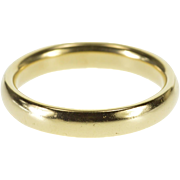 14K Classic Rounded Simple Men's Wedding Band Ring Size 9.75 Yellow Gold [QWXQ]