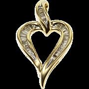 10K 0.60 Ctw Baguette Diamond Channel Inset Heart Pendant Yellow Gold  [QWXQ]
