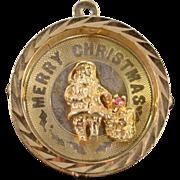 14K Merry Christmas Santa Medallion Charm/Pendant 23.1x23.2x3.2 MM Yellow Gold