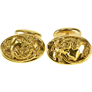 14K Oval Art Nouveau High Relief Ornate Lady's Face Cuff Links Yellow Gold  [QWXQ]