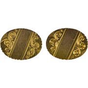 10K Oval Ornate Etched Monogrammable Scroll Design Cuff Links Yellow Gold  [QWXQ]