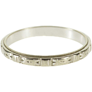 18K Art Deco Grooved Pattern Rounded Wedding Band Ring Size 4.75 White Gold [QWXQ]