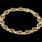 "10K Red Black Enamel Rounded Lady Bug Link Bracelet 6.75"" Yellow Gold  [QWXQ]"