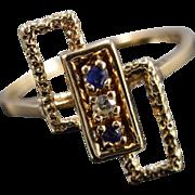 10K Geometric Retro 0.06 Ctw Diamond Sapphire Ring Size 5.5 Yellow Gold