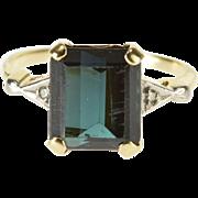 14K Emerald Cut Tourmaline* Diamond Accented Ring Size 6 Yellow Gold [QWXQ]