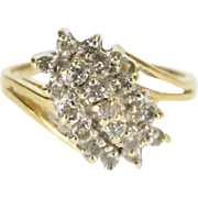 14K Raised Diagonal Diamond Cluster Freeform Ring Size 6 Yellow Gold [QWXQ]