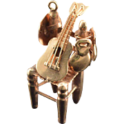 9K Vintage 3D Guitar Resting on Chair Charm/Pendant Yellow Gold