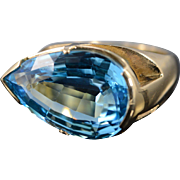 14K 18 Ct Pear Shape Blue Topaz Pressure Set Ring Size 10.25 Yellow Gold