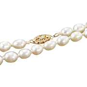 "14K 5.5mm Pearl Necklace 25"" Yellow Gold"